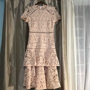 Just Me Peach Blush Lace Ruffle tiered midi dress
